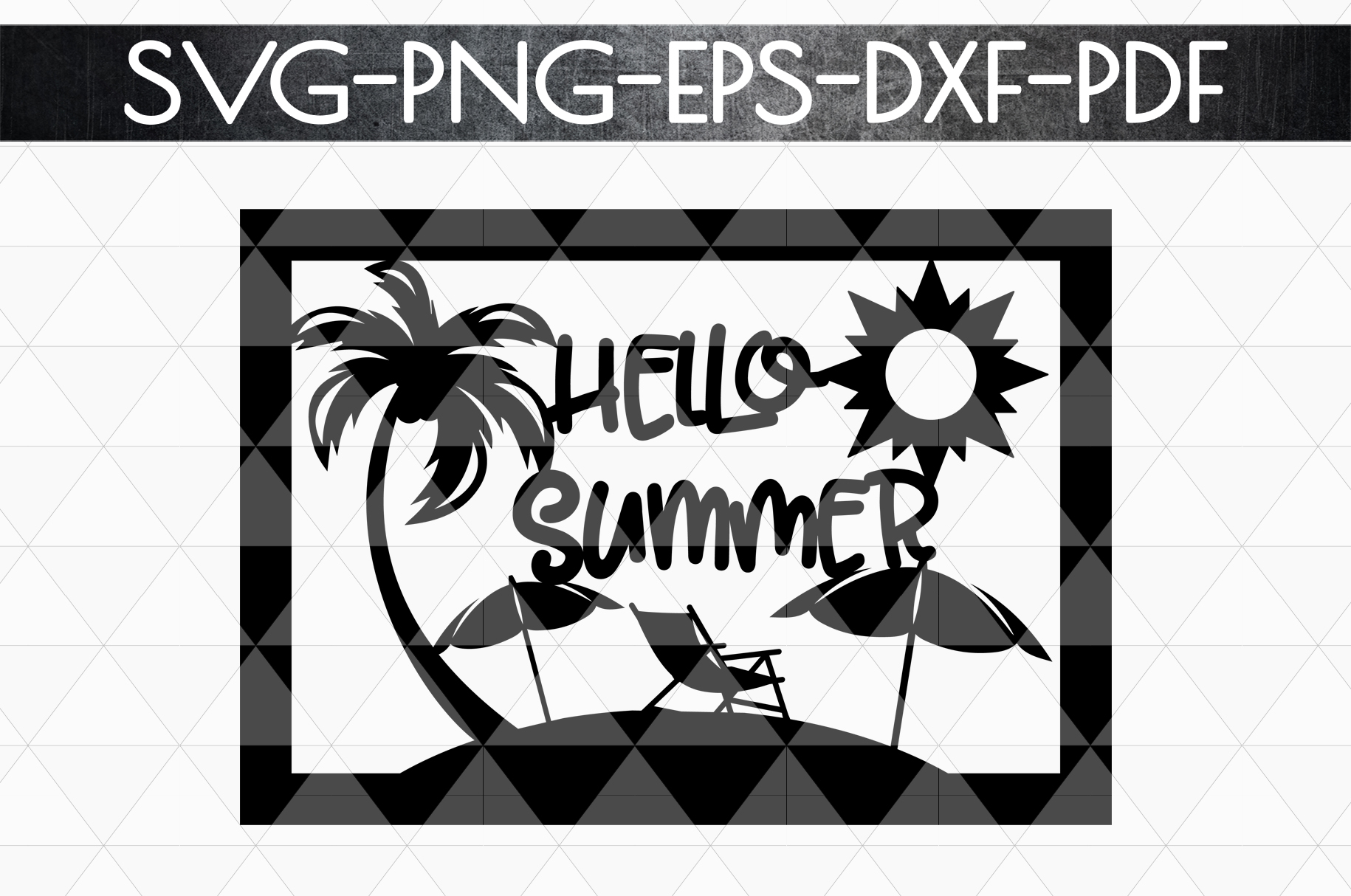 Hello Summer Papercut Template, Beach House Decor SVG, DXF example image 4