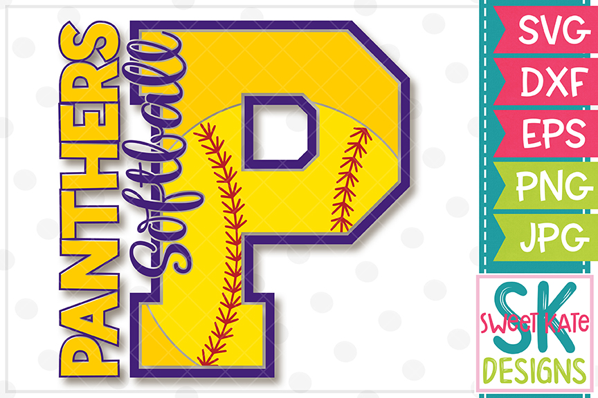 P Panthers Softball SVG DXF EPS PNG JPG example image 2