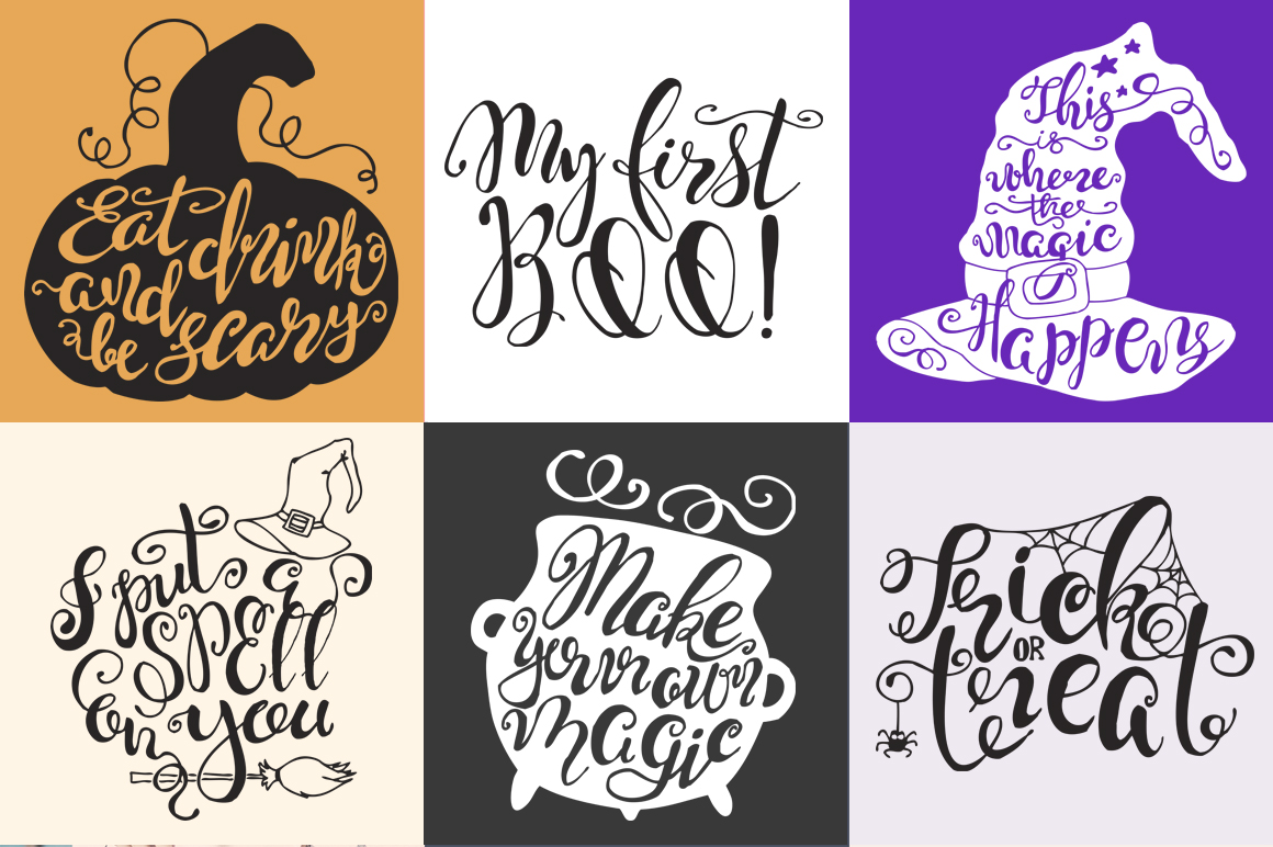 Halloween hand drawn Quotes SVG Cut files example image 2