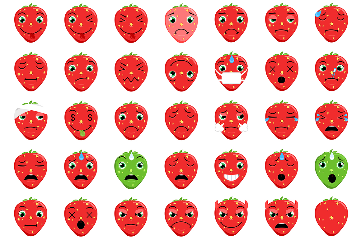 Strawberry Emoticons example image 3