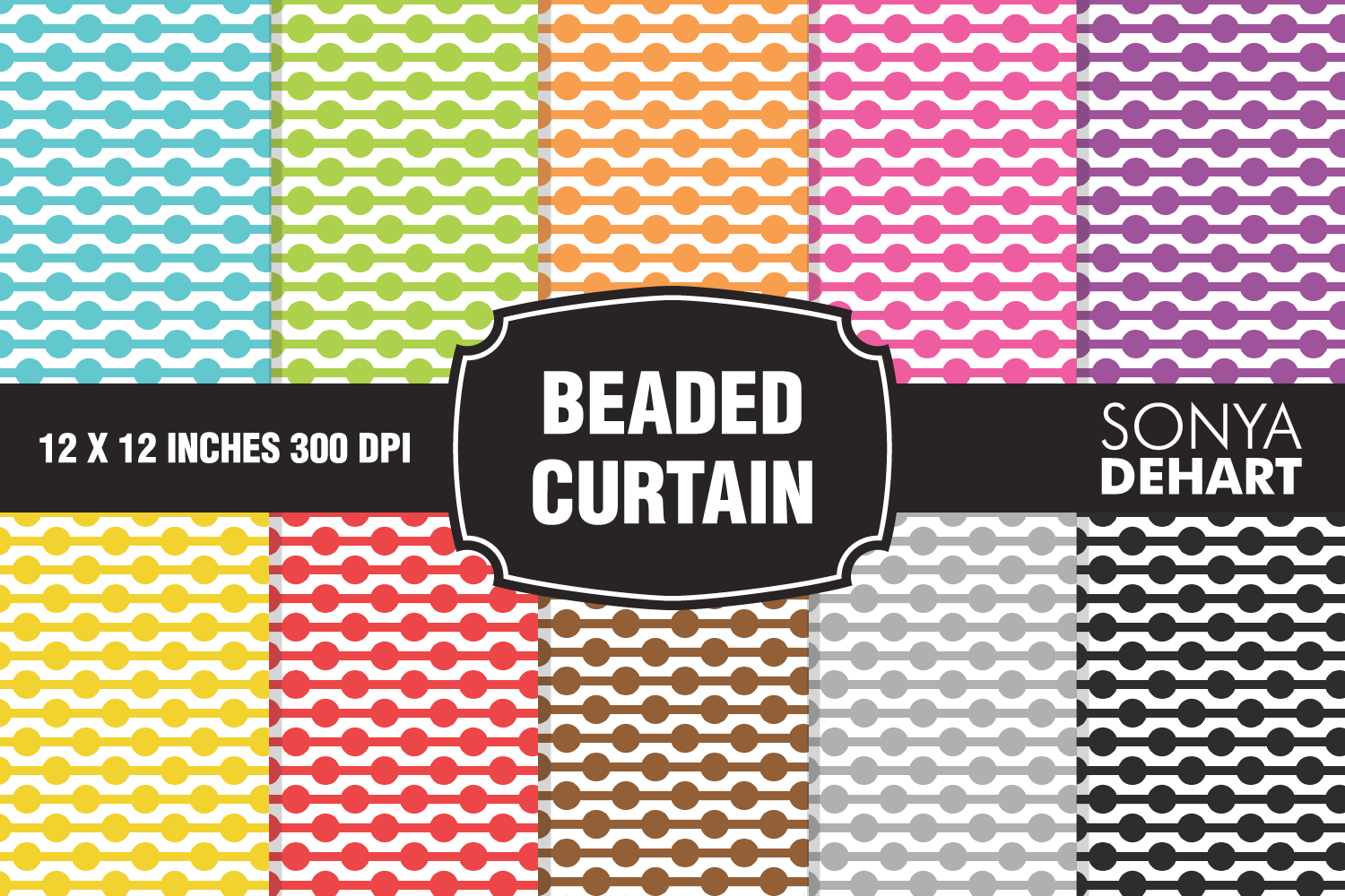 Beaded Curtain Polka Dot Chain Digital Paper Pattern Pack example image 1