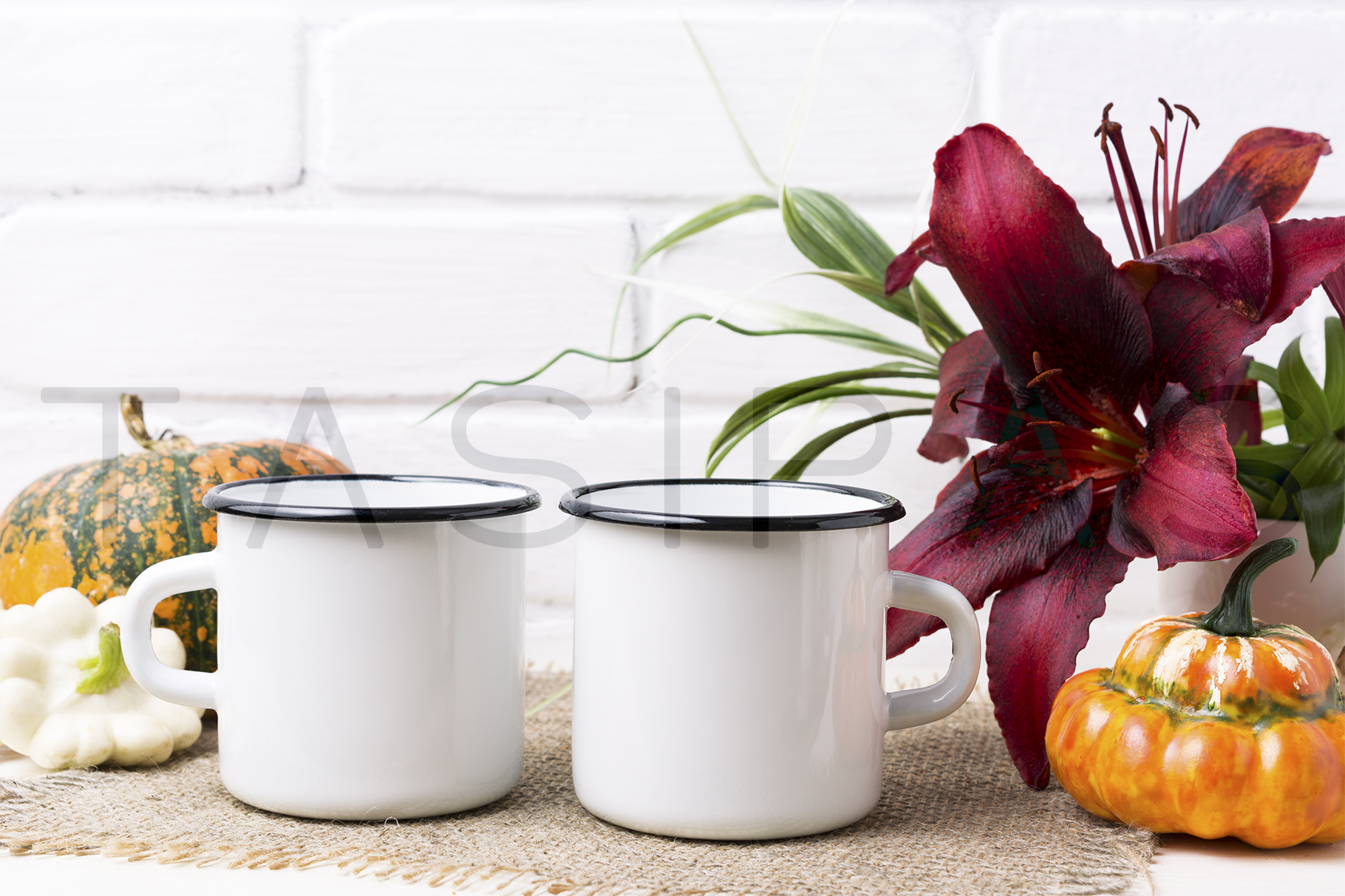 Two white campfire enamel mug mockup with pumpkin and lily. example image 2