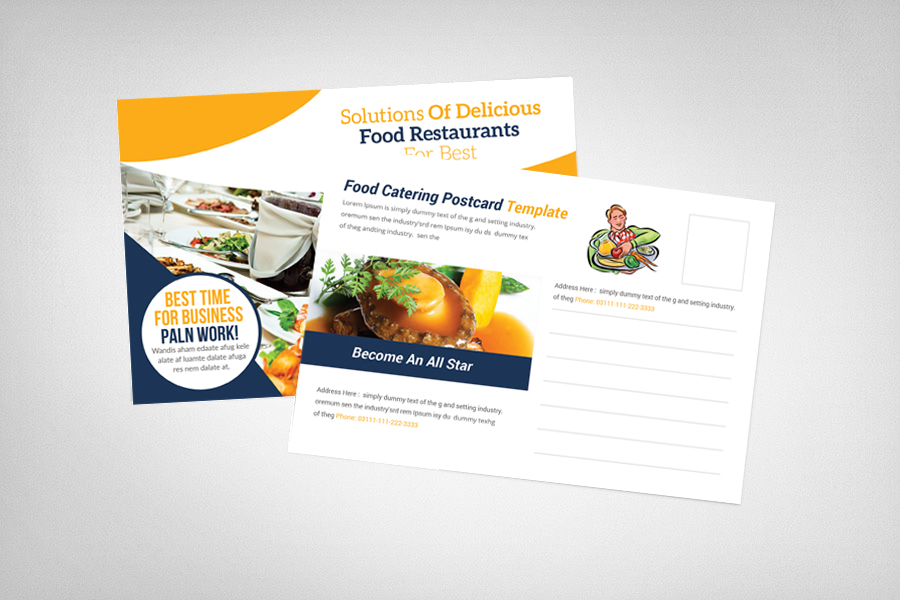 Food Catering Postcard Template example image 2