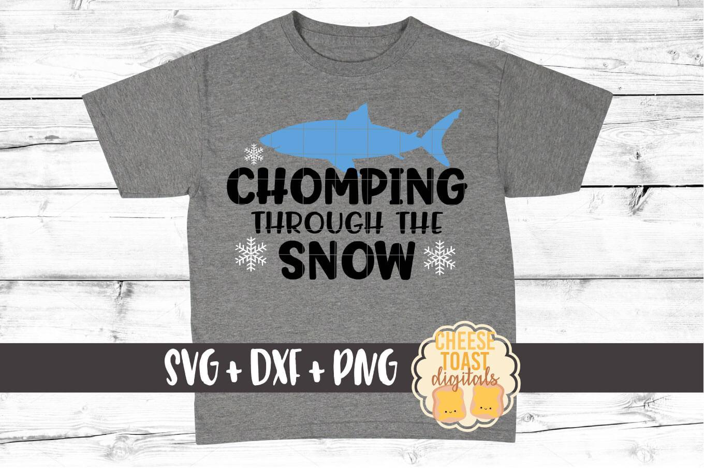 Chomping Through The Snow - Christmas SVG Files - Shark SVG example image 1