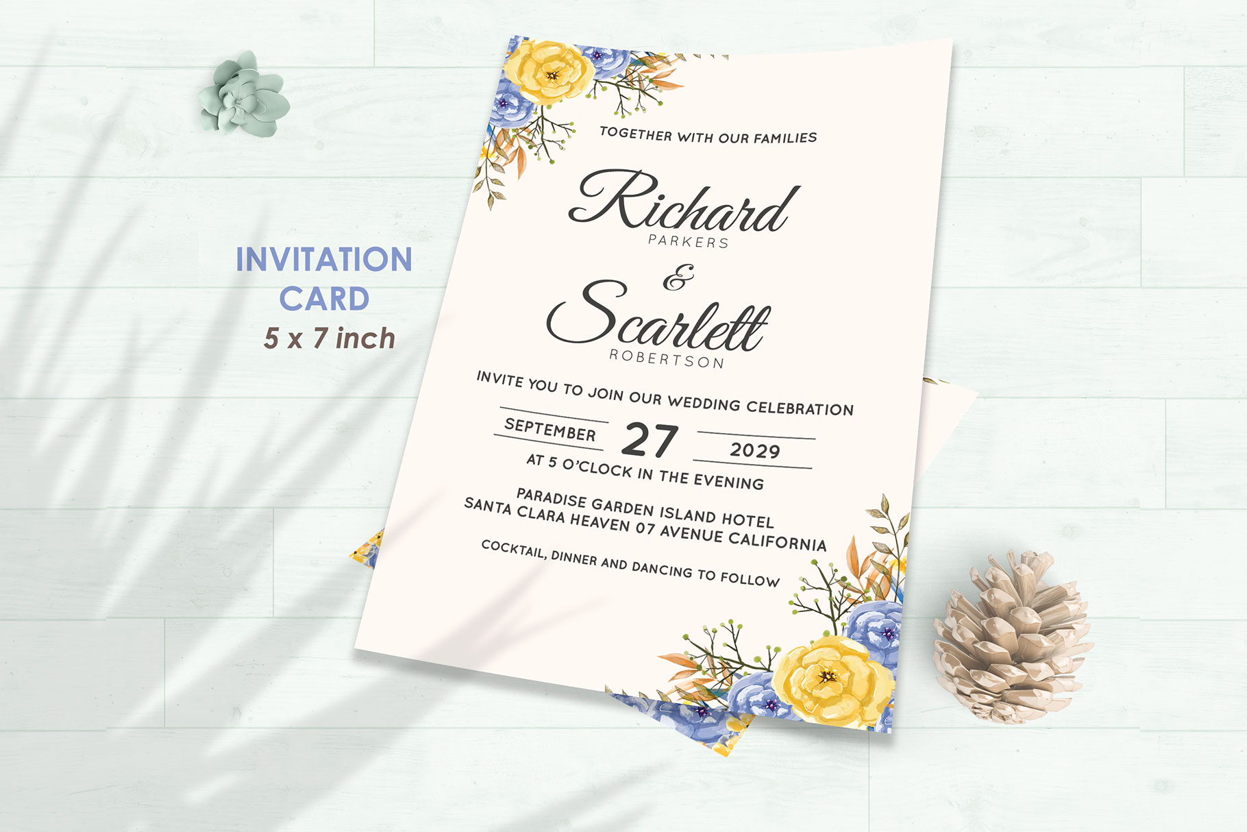 Wedding Invitation Set #6 Watercolor Floral Flower Style example image 2