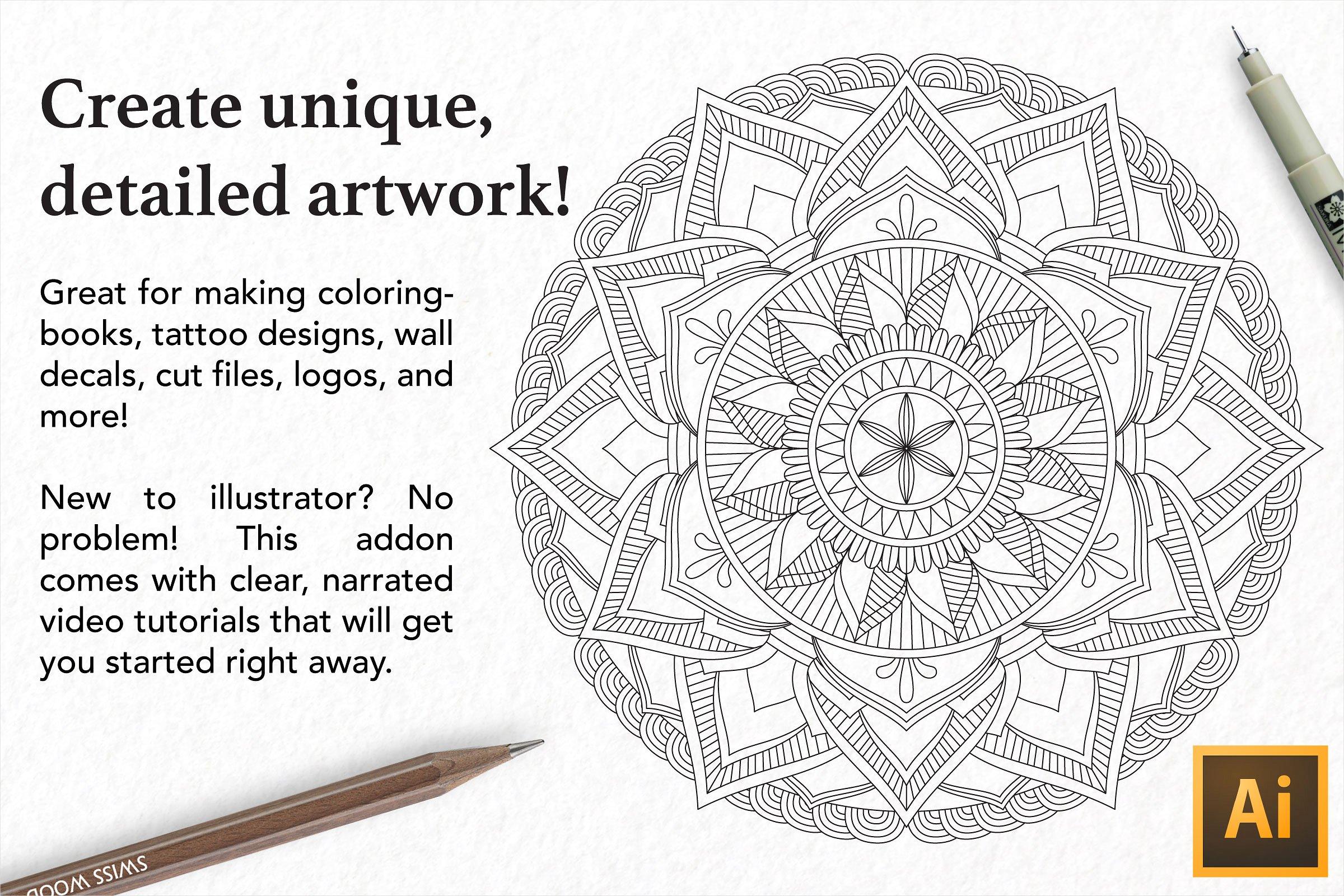 Zentangle Mandala Creator Addon for Illustrator example image 3