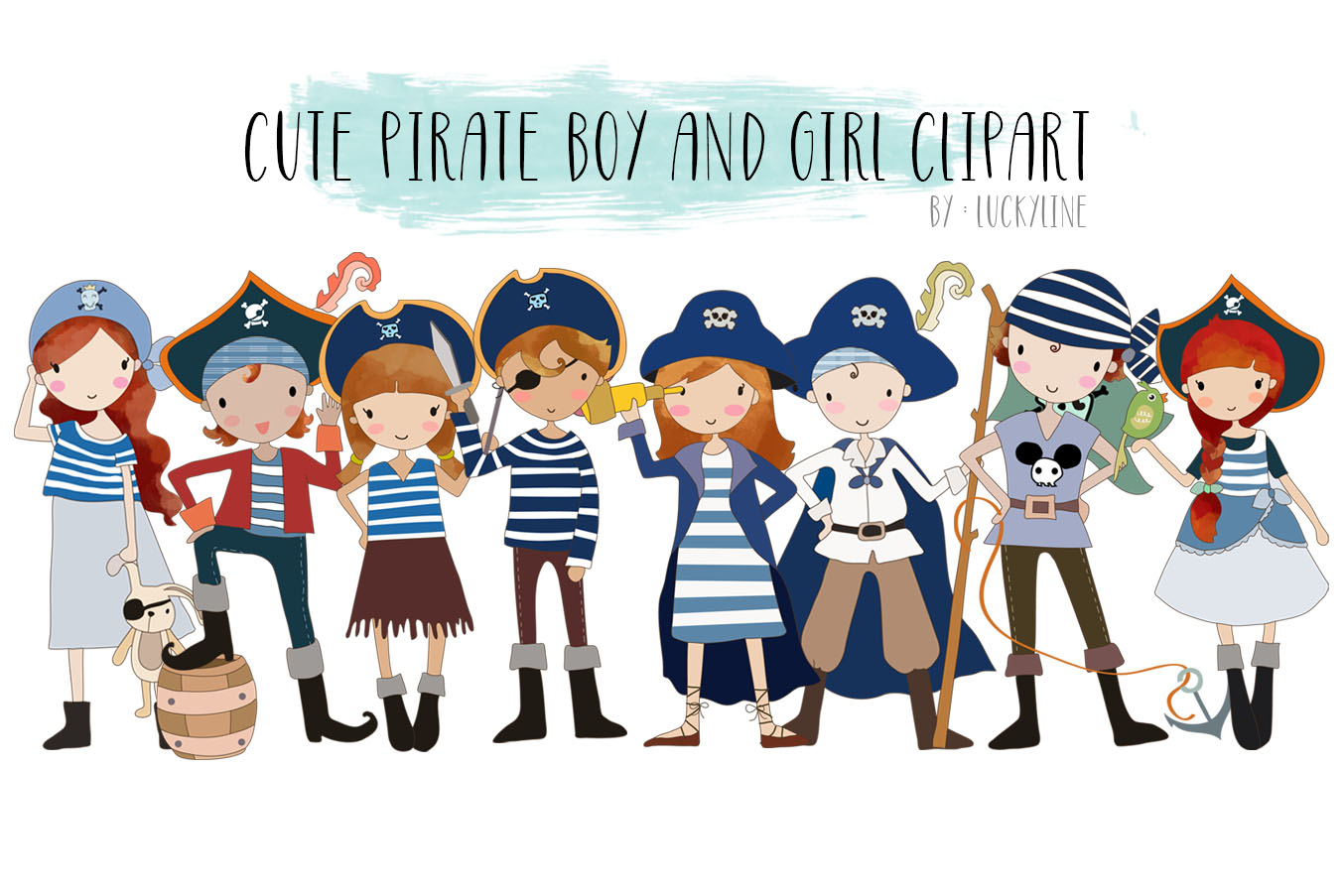 cute Pirate boy and girls clipart example image 1
