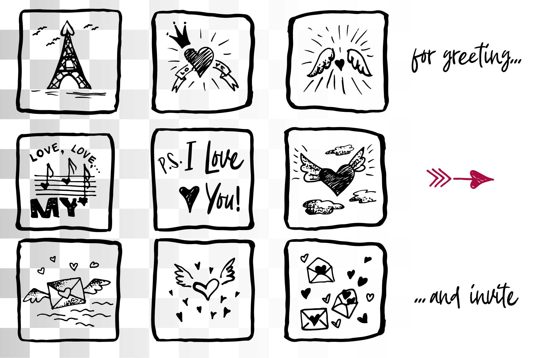 Lovely valentines day set - #5 SVG collection example image 3
