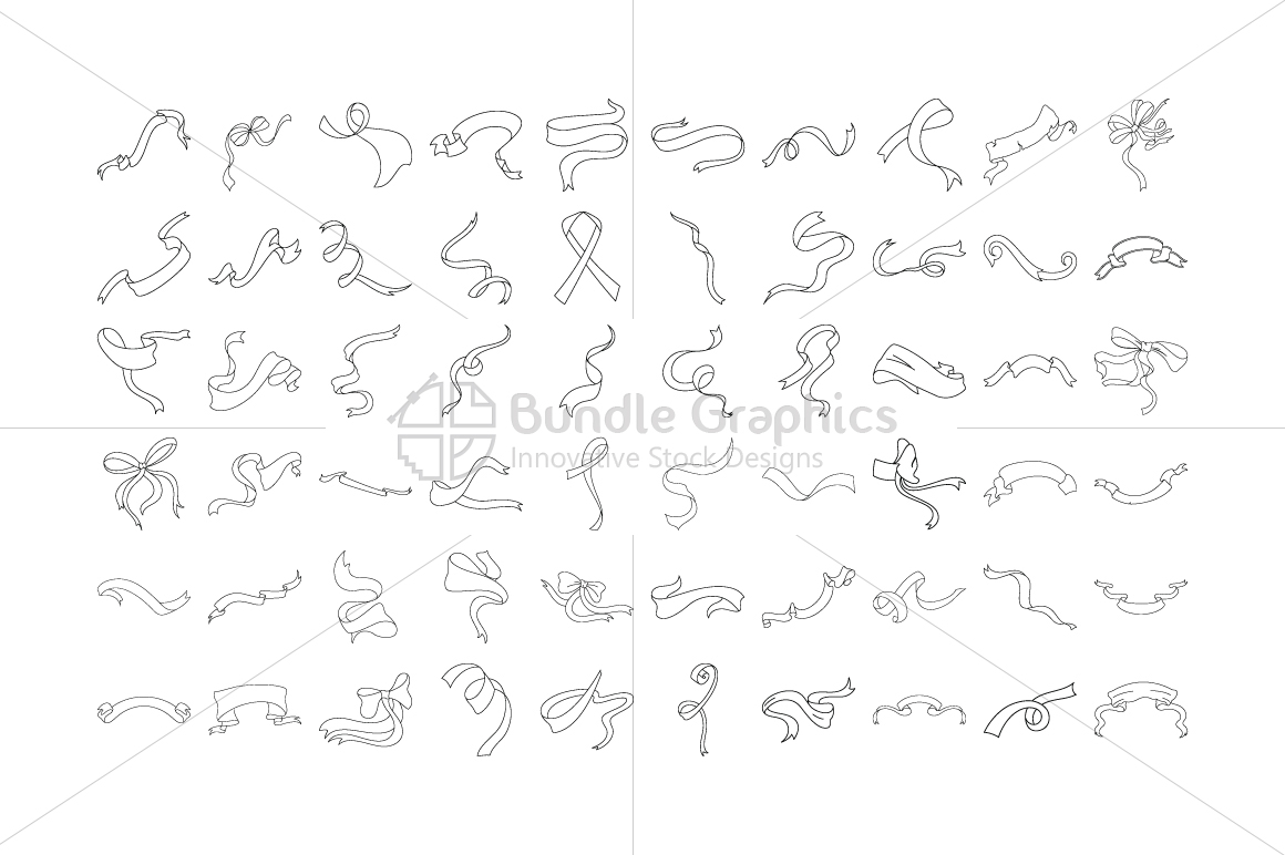 Decorative Ribbons Knots and Bows Vector Graphics Set example image 2