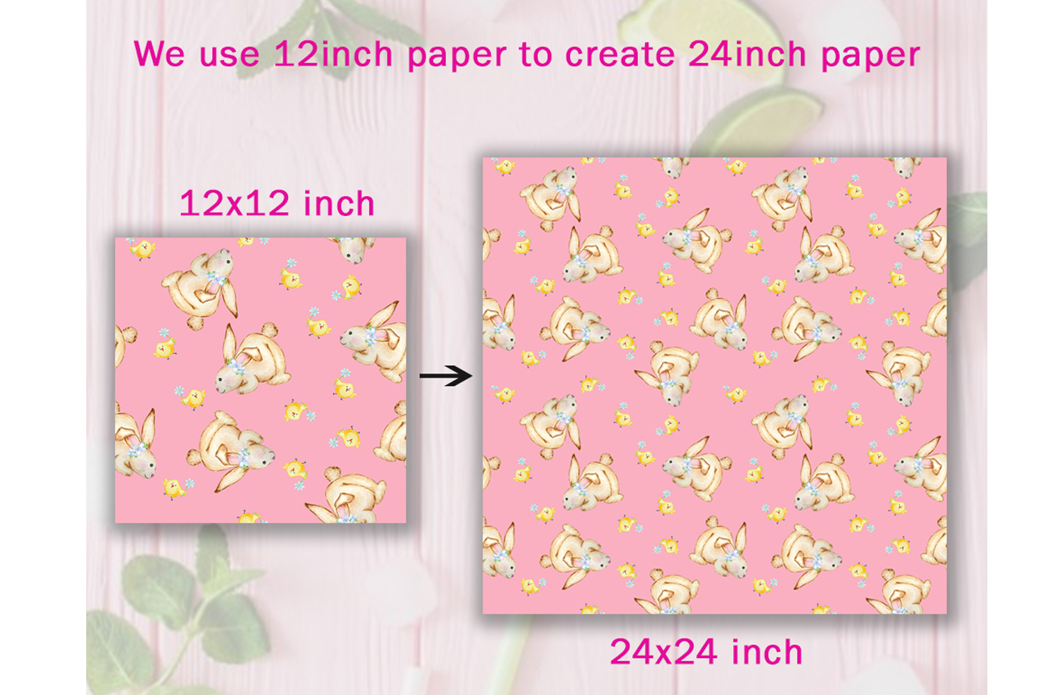 Watercolor Cute Bunny Seamless Paper Pattern example image 8