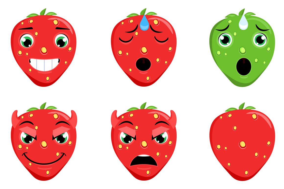 Strawberry Emoticons example image 4