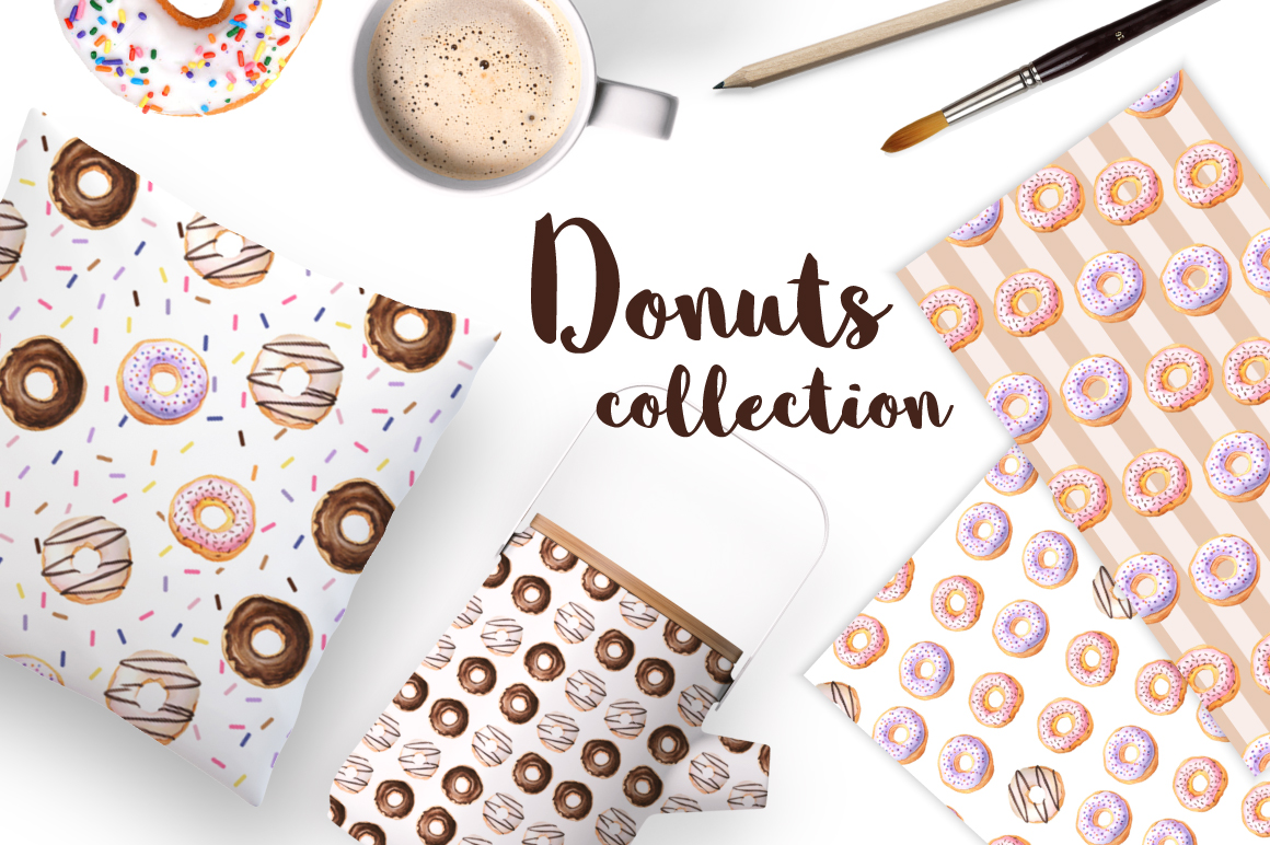 Donut Watercolor Patterns and Graphics example image 6