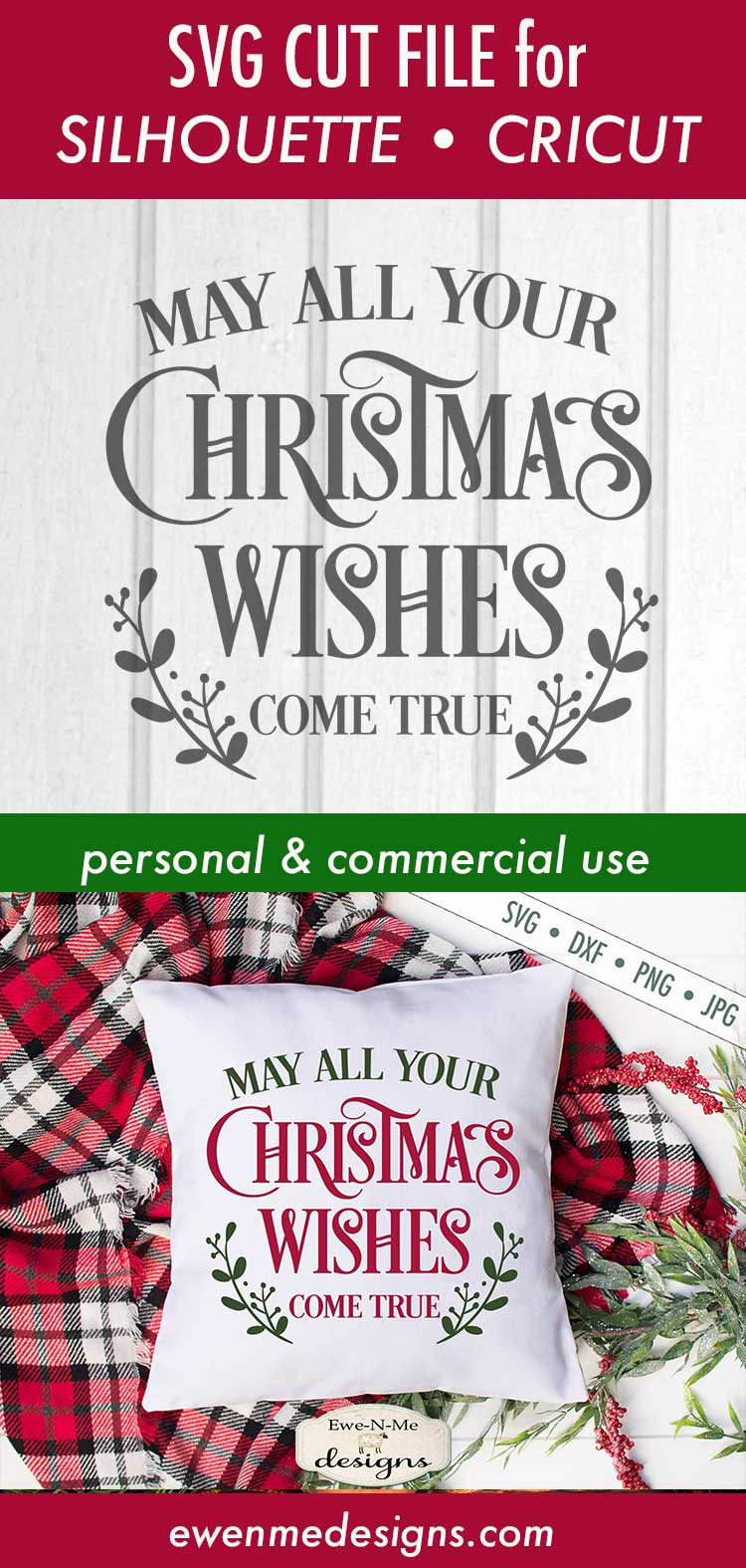 Christmas Wishes - Holiday - SVG DXF Files example image 3