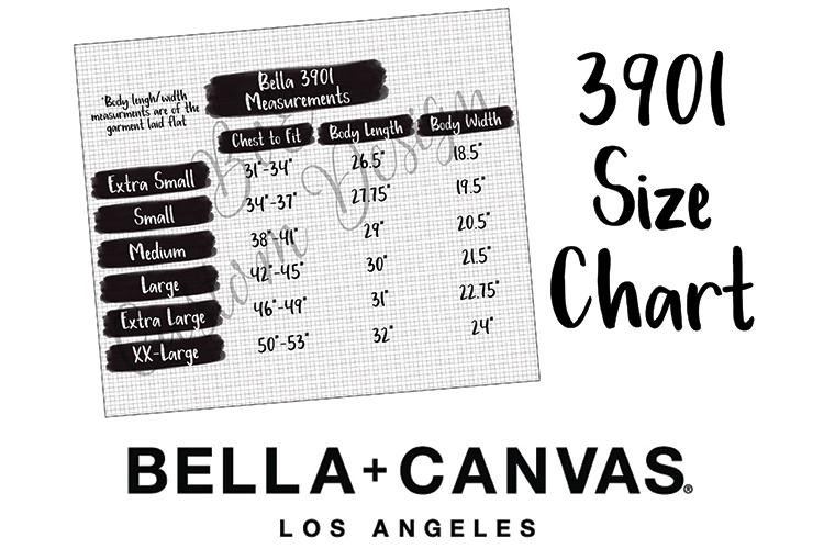 Bella 3901 Size Chart - 3901 Measurement Chart example image 1