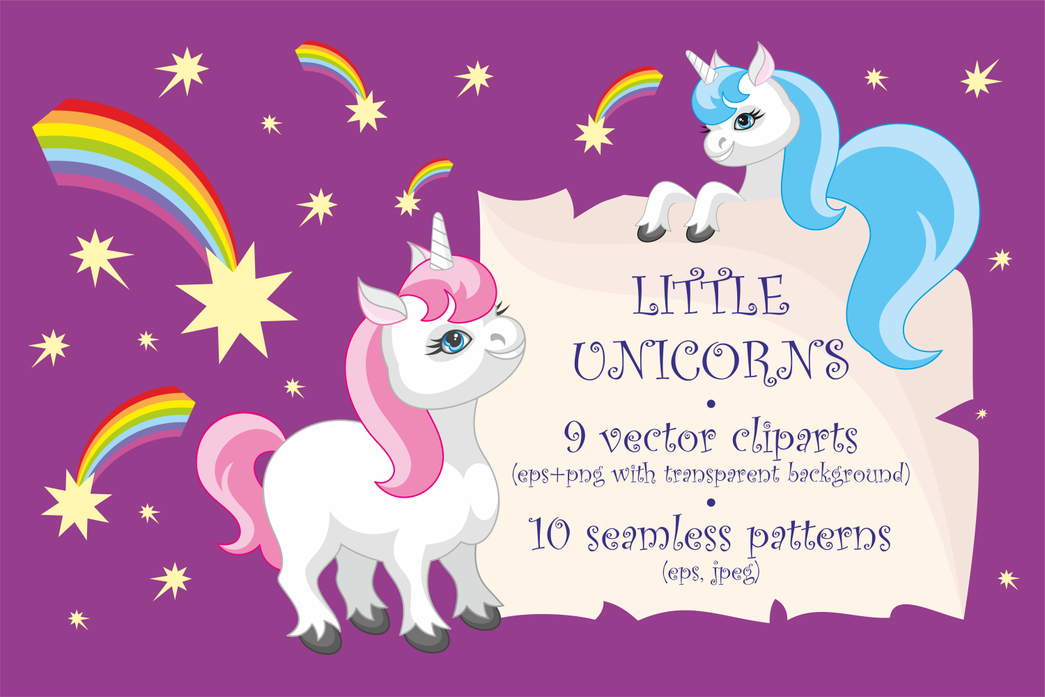 Little unicorns. Vector clip arts and patterns. example image 1
