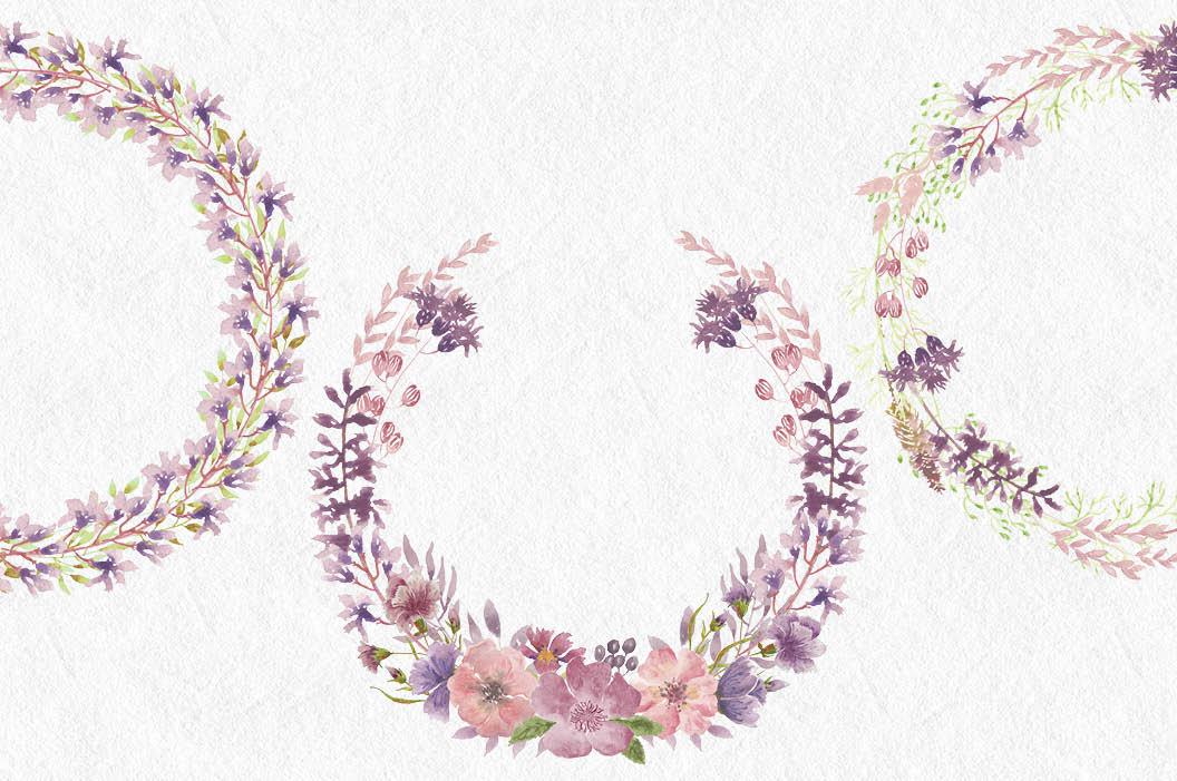 Watercolor clip art bundle: wild flowers example image 6