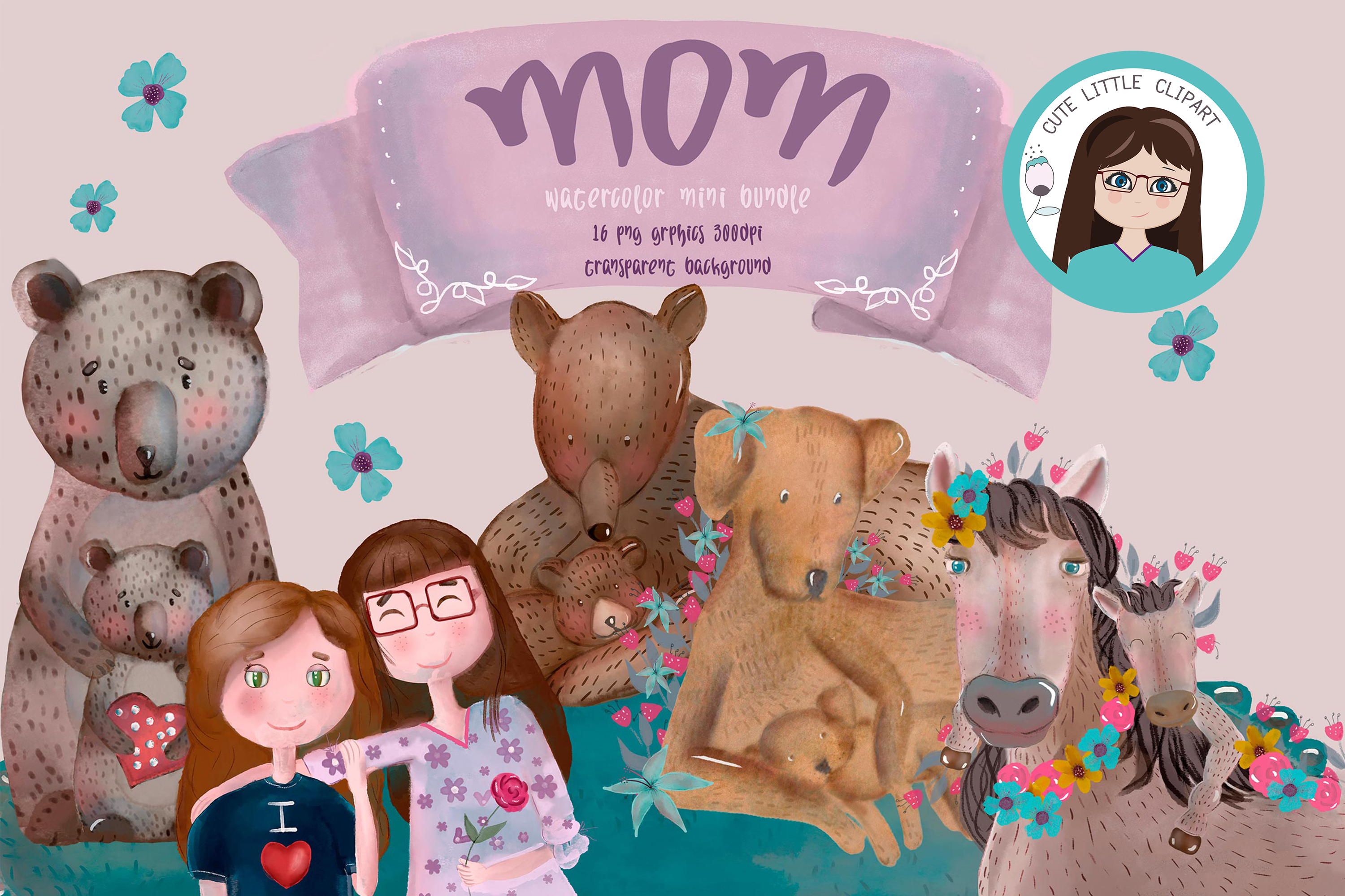 Mom day bundle clipart and svg example image 2