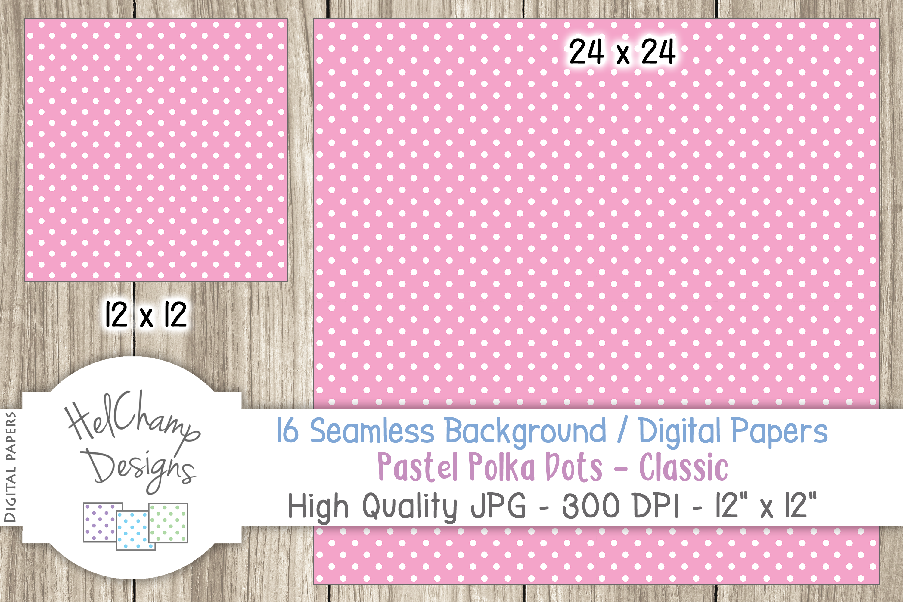 16 seamless Digital Papers Pastel Polka Dots Classic - HC010 example image 6