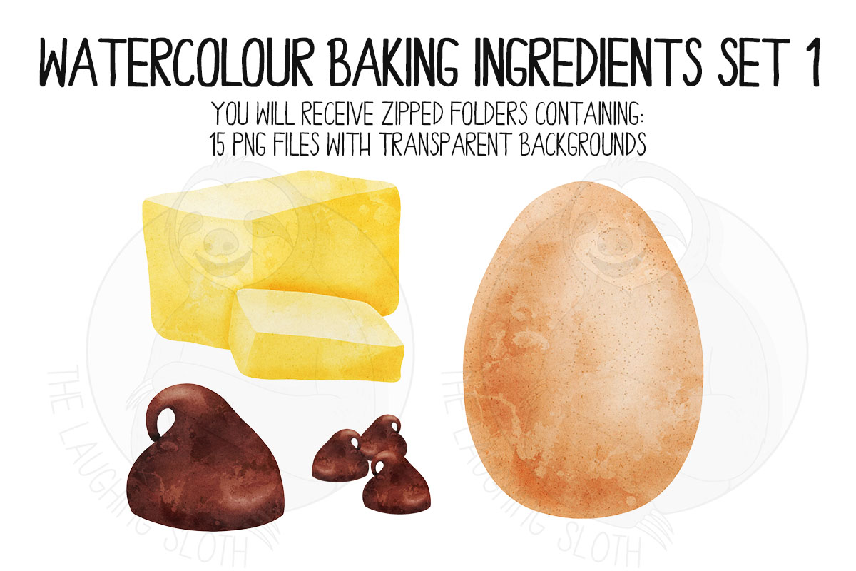 Watercolor Baking Ingredients Clip Art Set example image 4