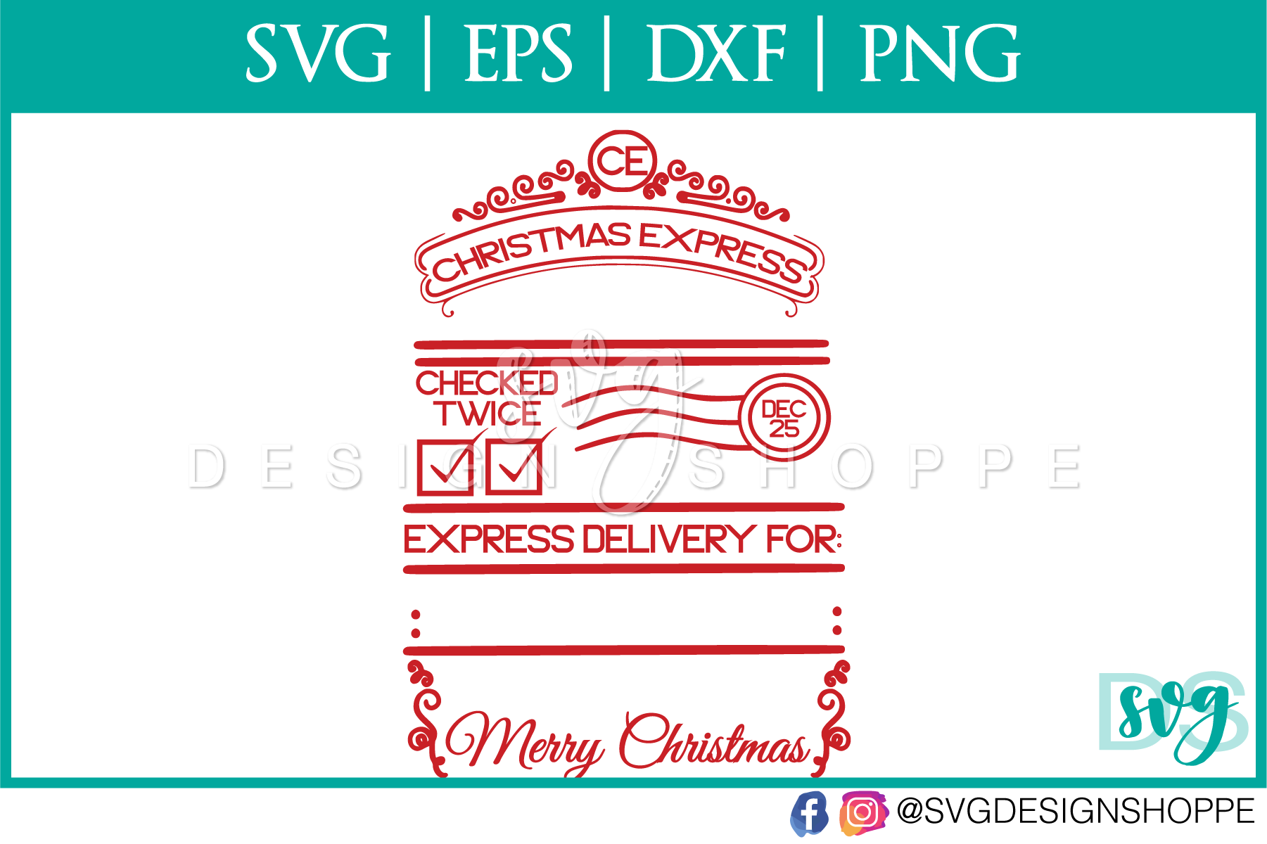 Christmas Express, Santa Sack, SVG, PNG example image 2