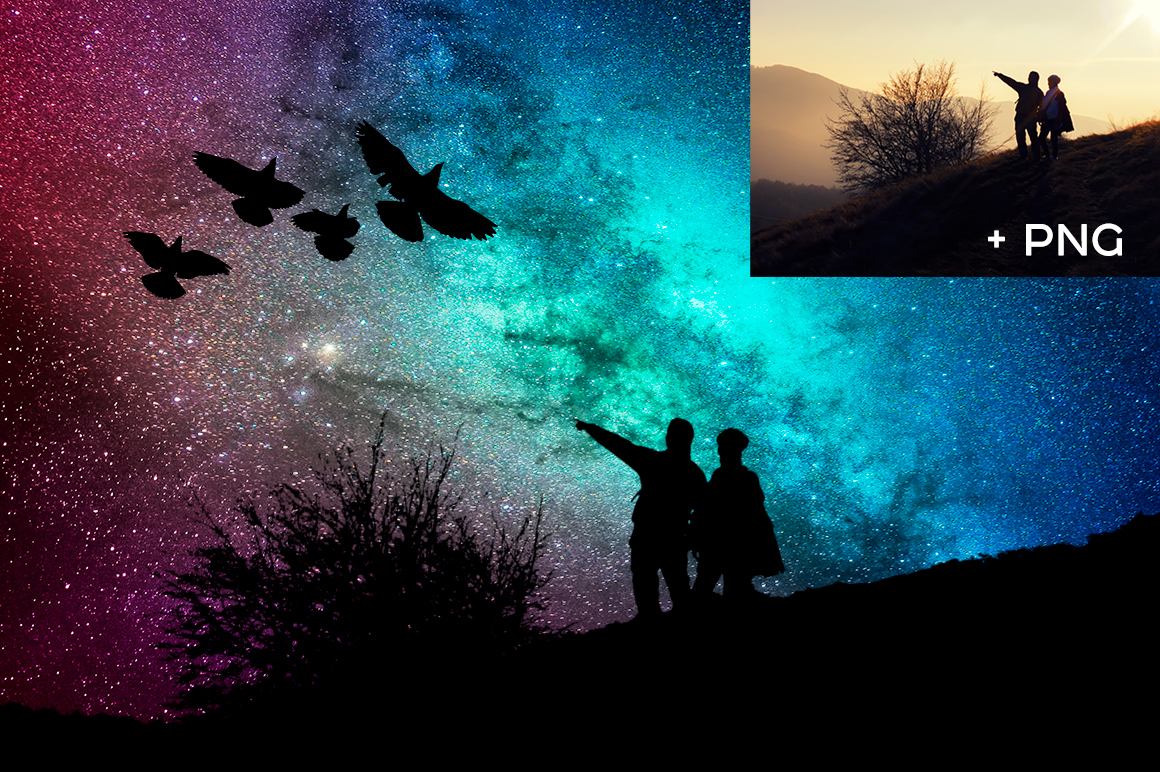 Night Sky Silhouette Actions example image 5