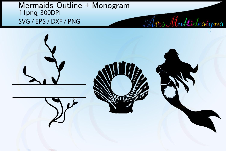 Mermaid silhouette outline / mermaid monogram vector example image 2