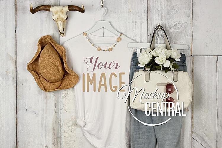 Women's Blank White Boho Chic Rustic T-Shirt JPG Mockup example image 1