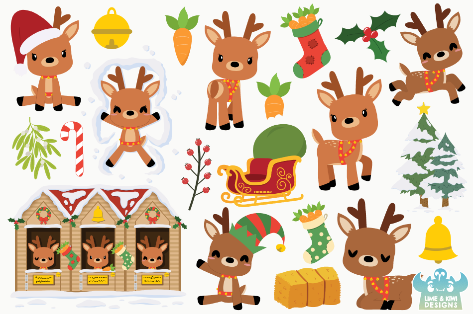 Christmas Reindeer Clipart, Instant Download Vector Art example image 2