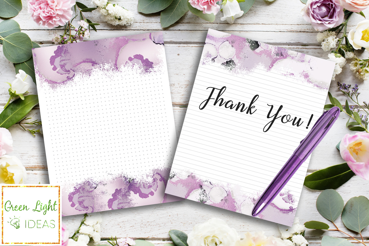 Purple Marble Writing Paper, Printable Stationery Note Paper example image 5
