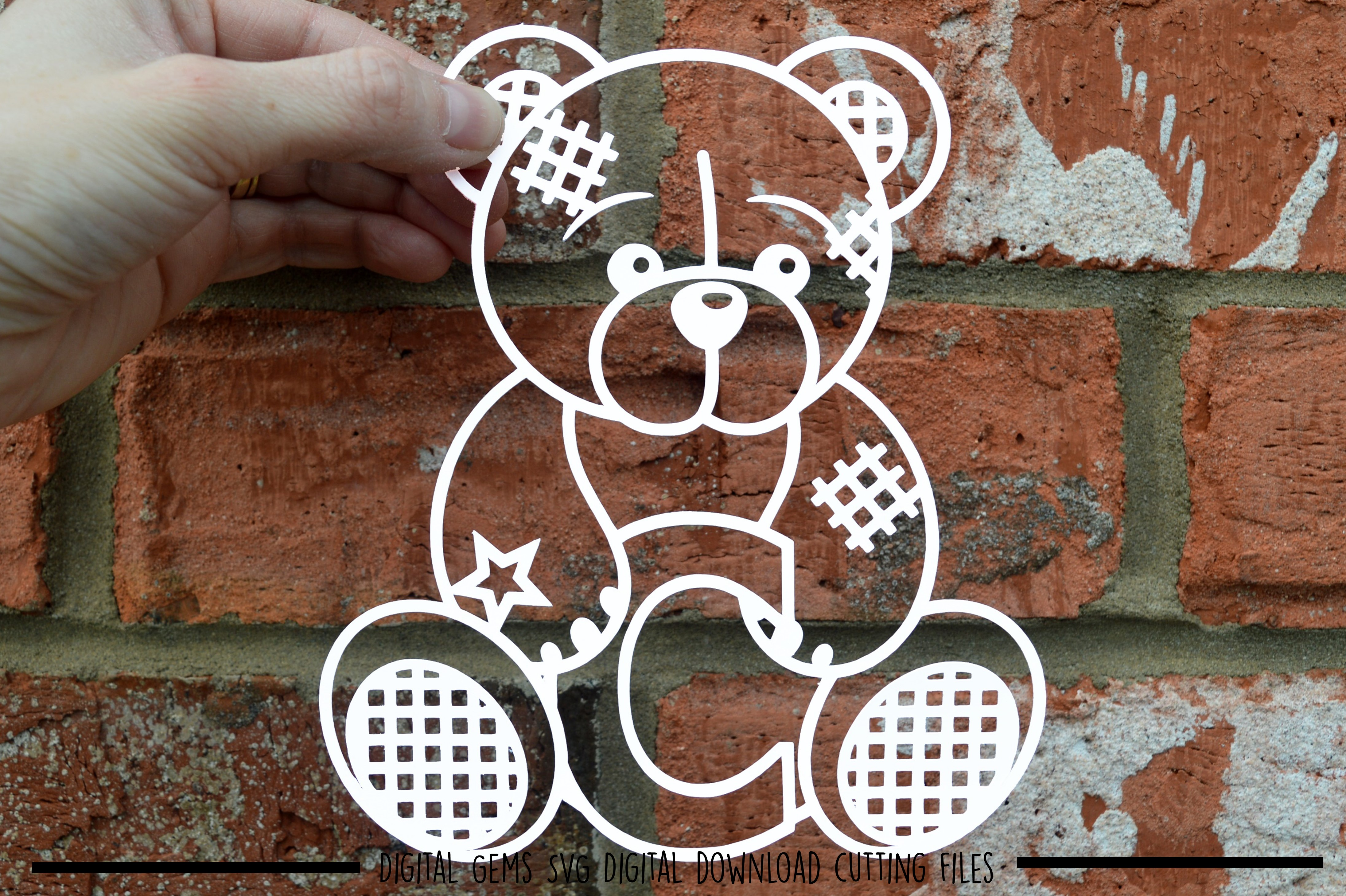 Alphabet teddy bear paper cuts SVG / DXF / EPS files example image 4