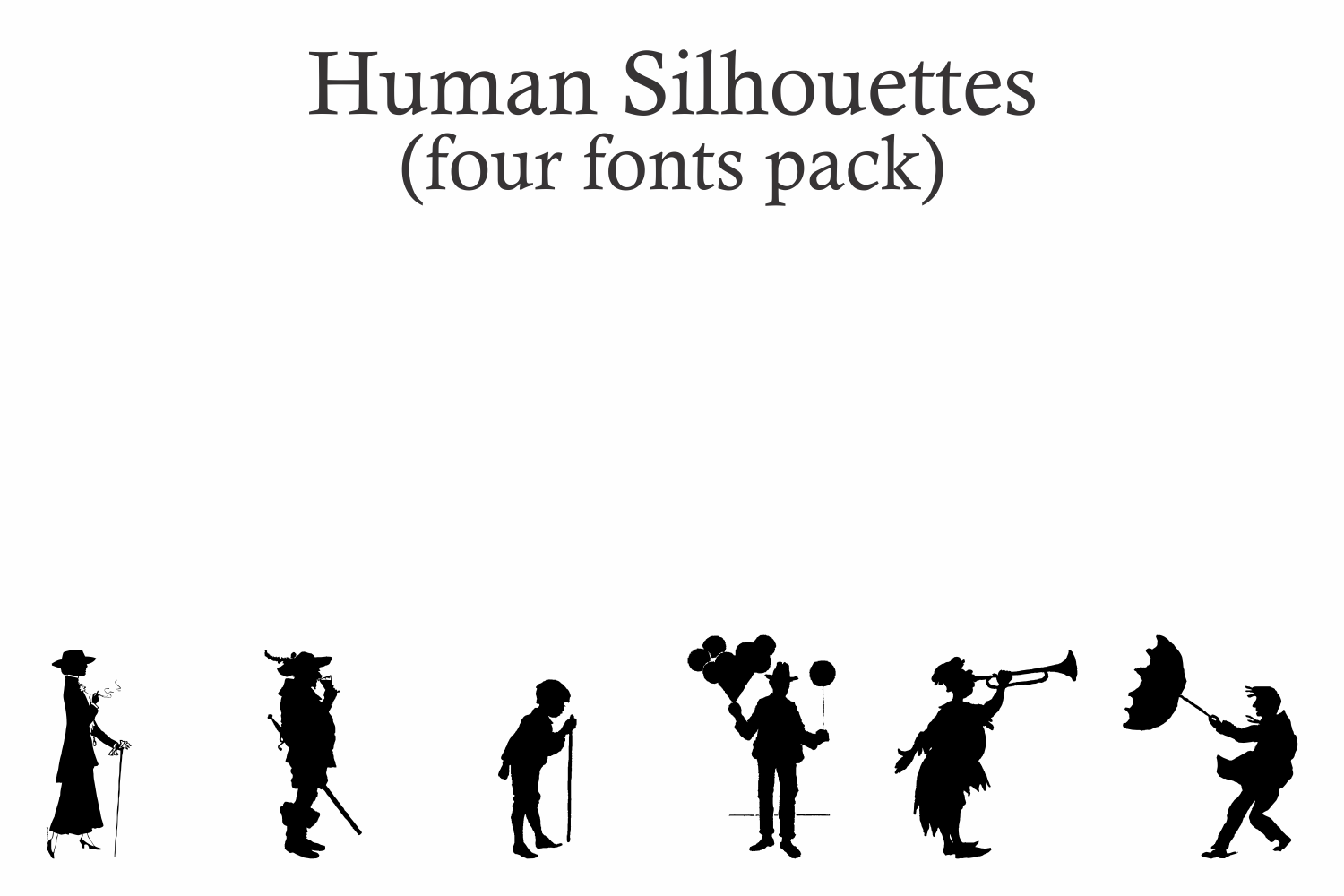 Human Silhouettes Pack - 4 Fonts example image 4
