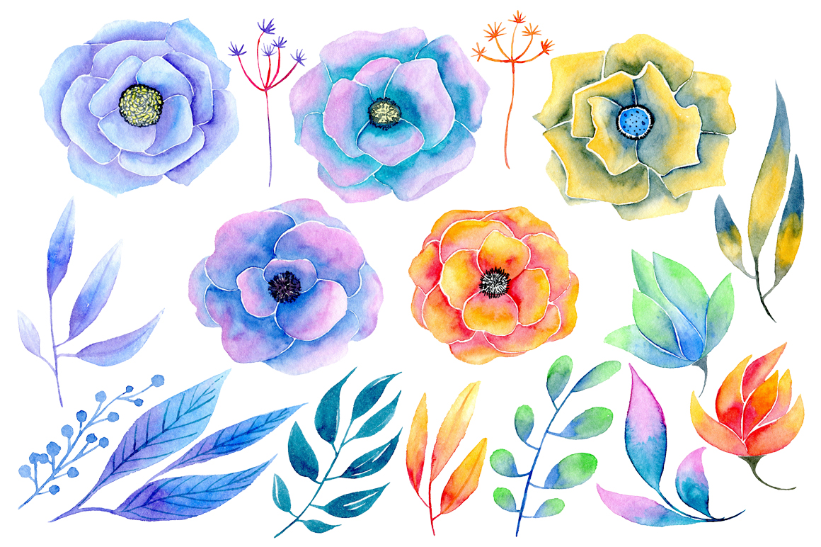 Watercolor flowers 17 png example image 2