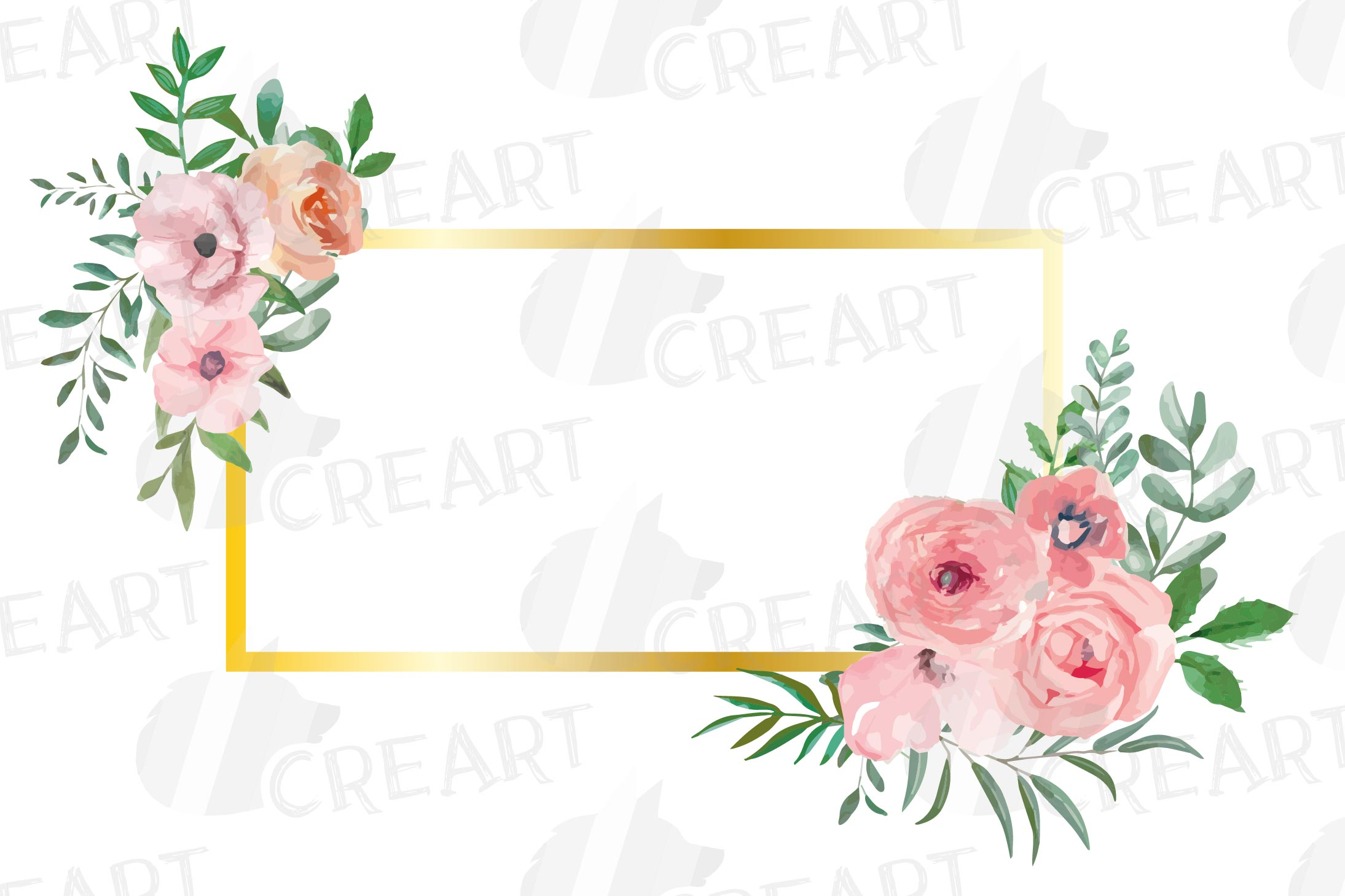 Blush watercolor floral wedding clip art, pink flowers leafs example image 7