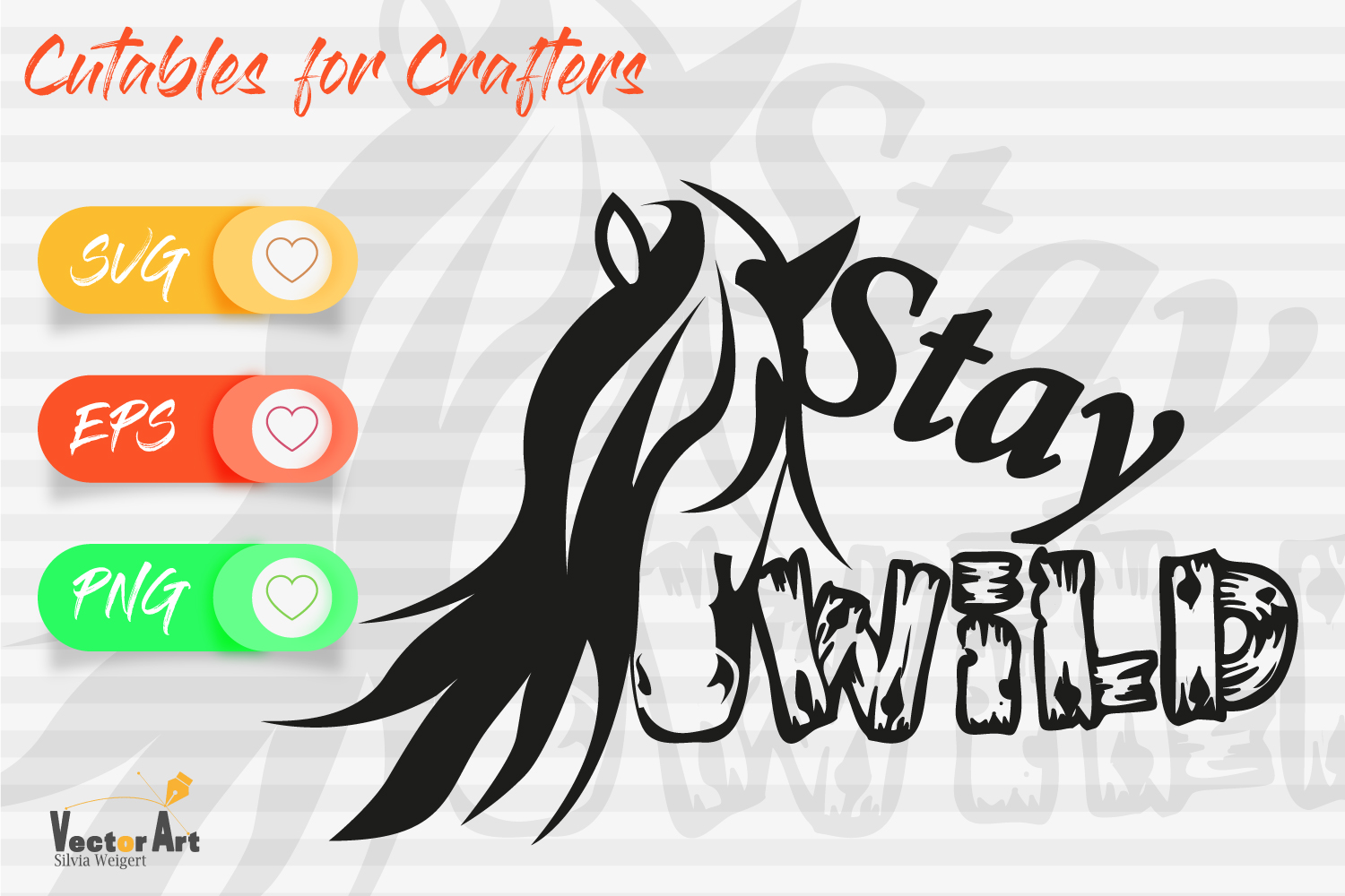 Stay Wild - Horsehead and Quote - Cut File for Crafters example image 1