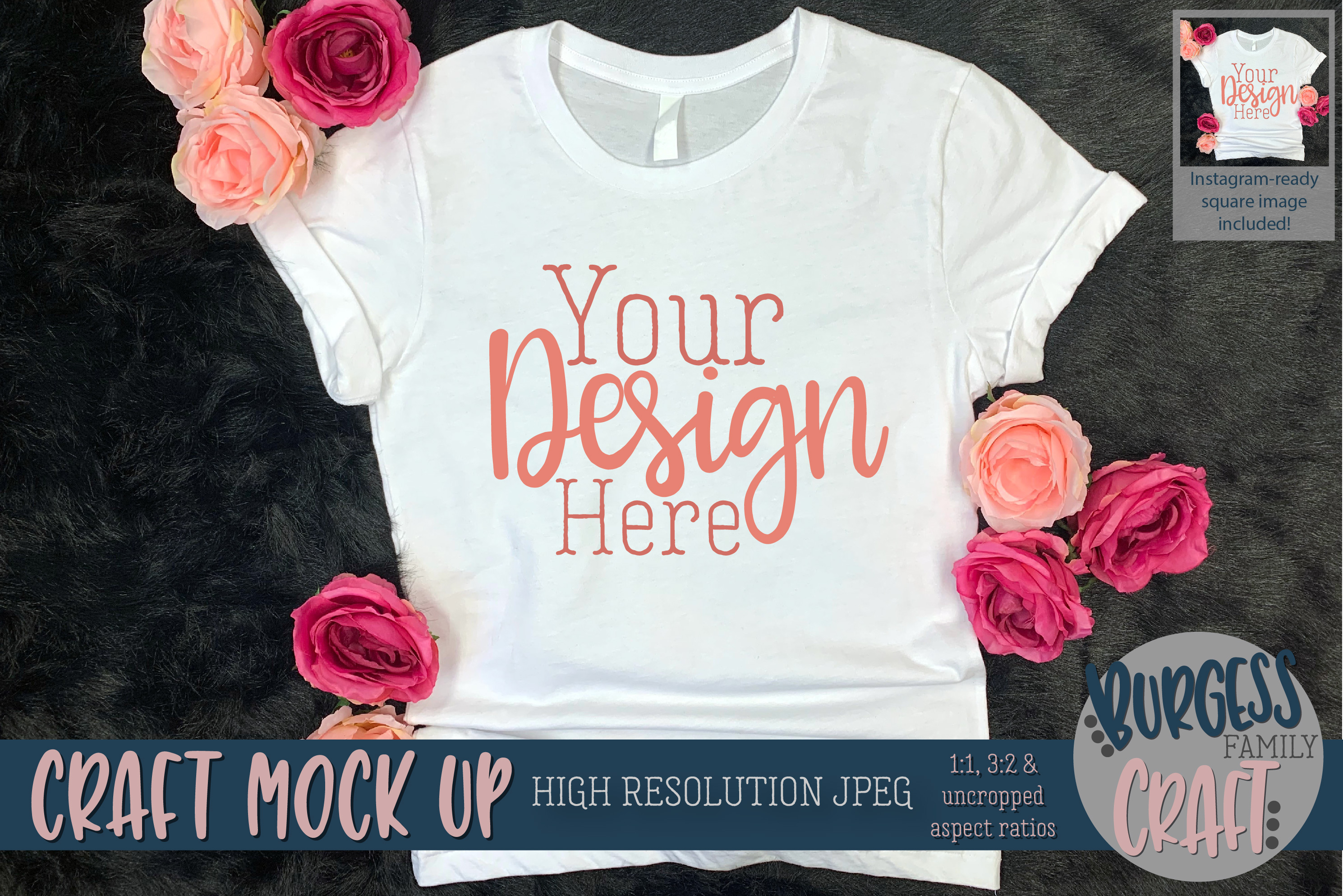 Pretty womens shirt w/flowers Craft mock up | High Res JPEG example image 1