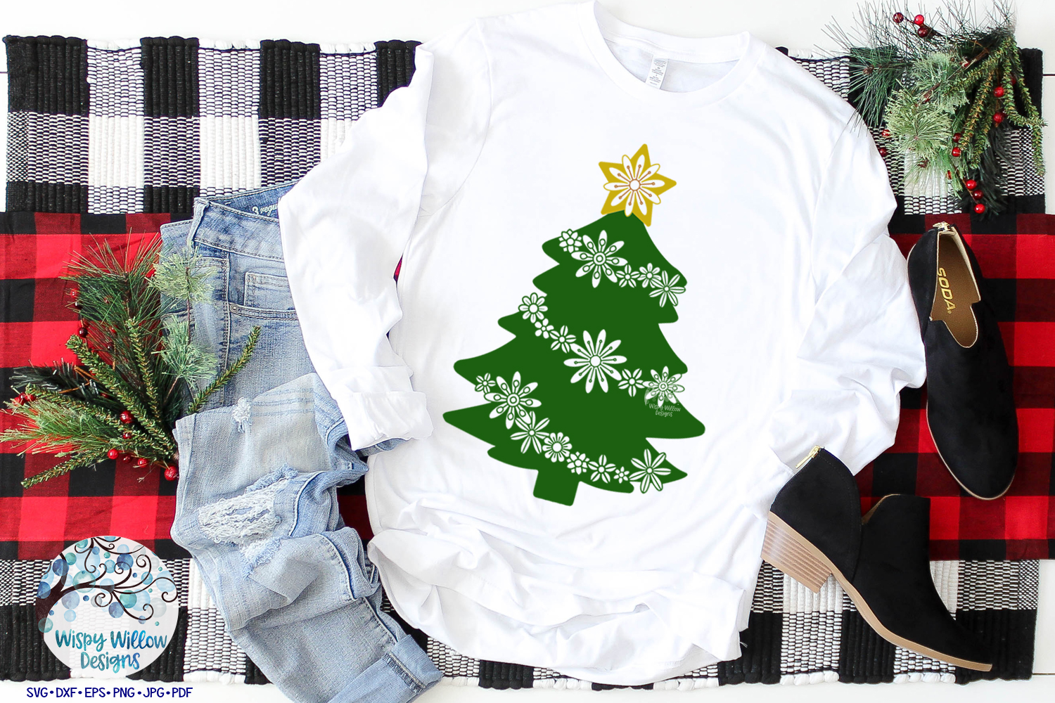 Floral Christmas Tree   Christmas SVG Cut File example image 2