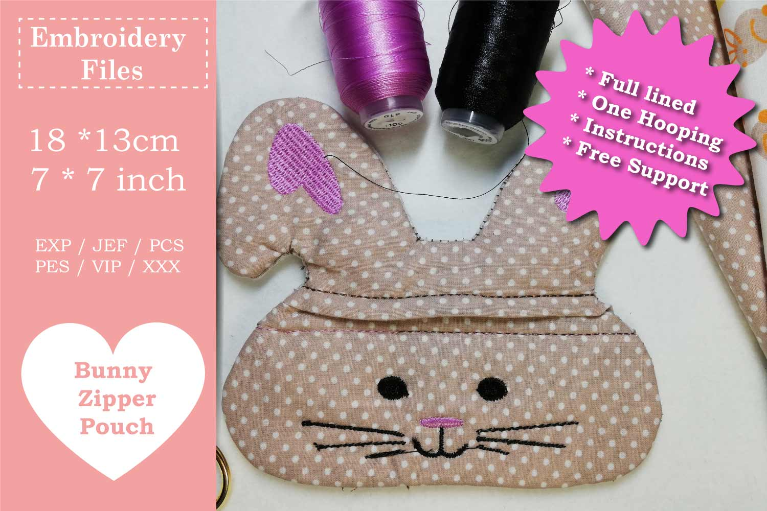 Zippered Easter Bunny Pouch - ITH Embroidery File example image 2