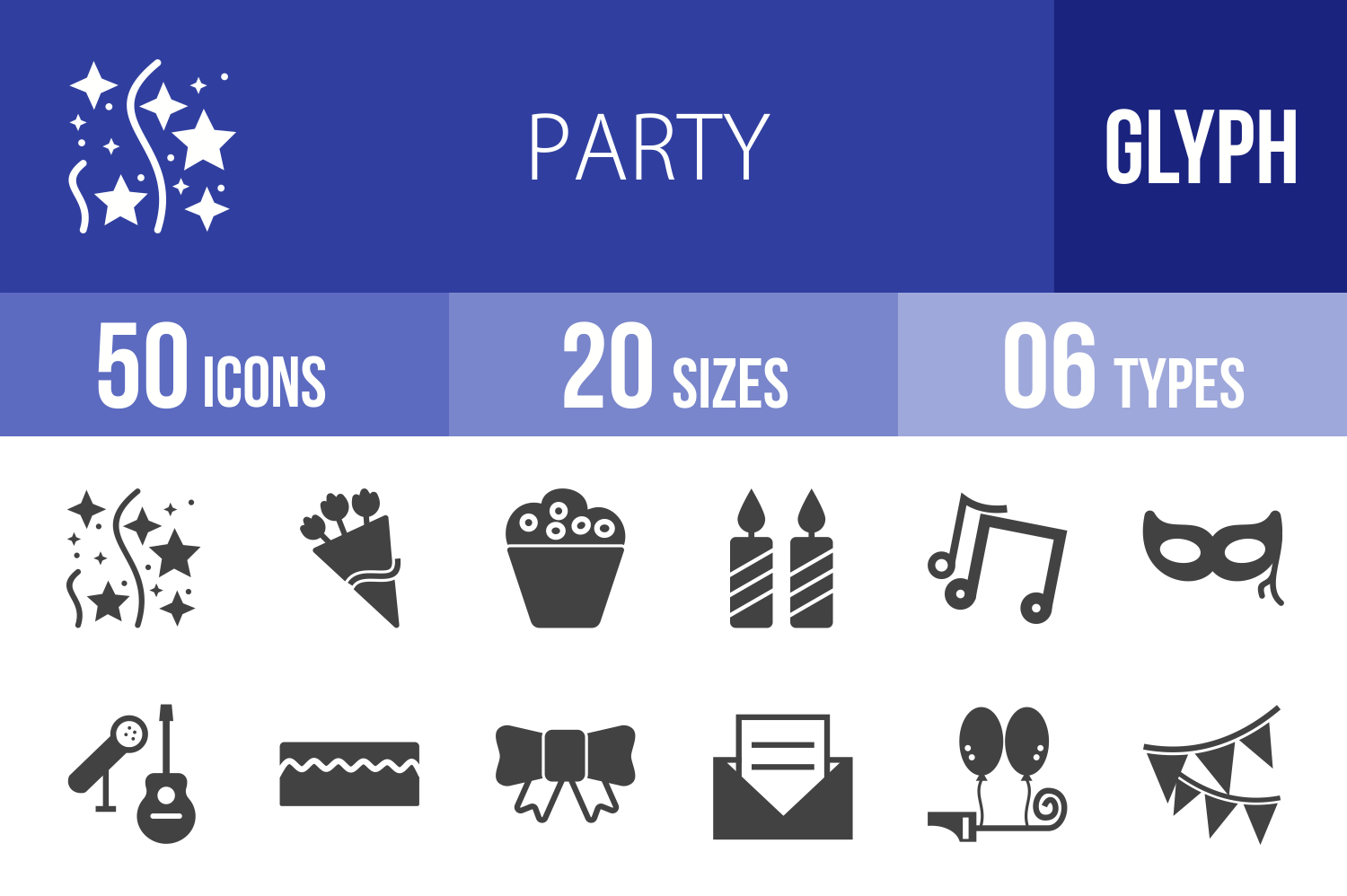 50 Party Glyph Icons example image 1