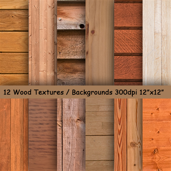12 Wood Grain Textured Papers / Backgrounds example image 1
