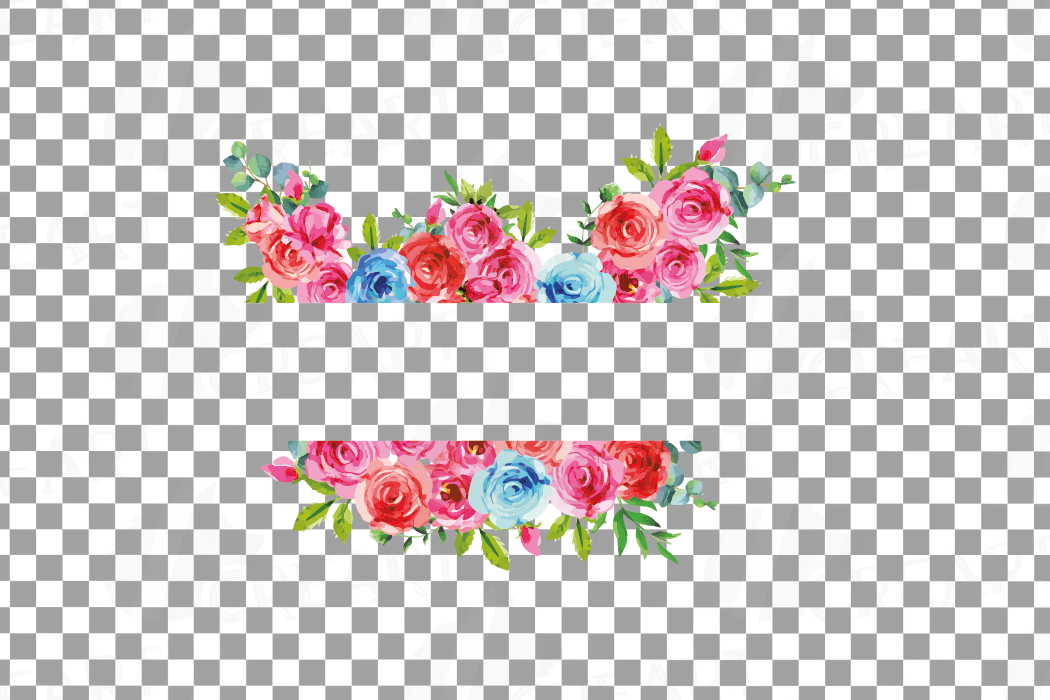 Watercolor Pink and Blue Roses and leafs clip art pack, png example image 13