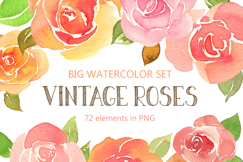 Watercolor vintage roses set 72 png example image 1