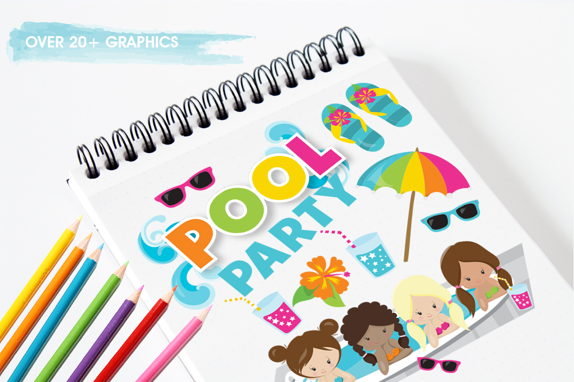Girls Pool Party graphic and illustrations example image 5