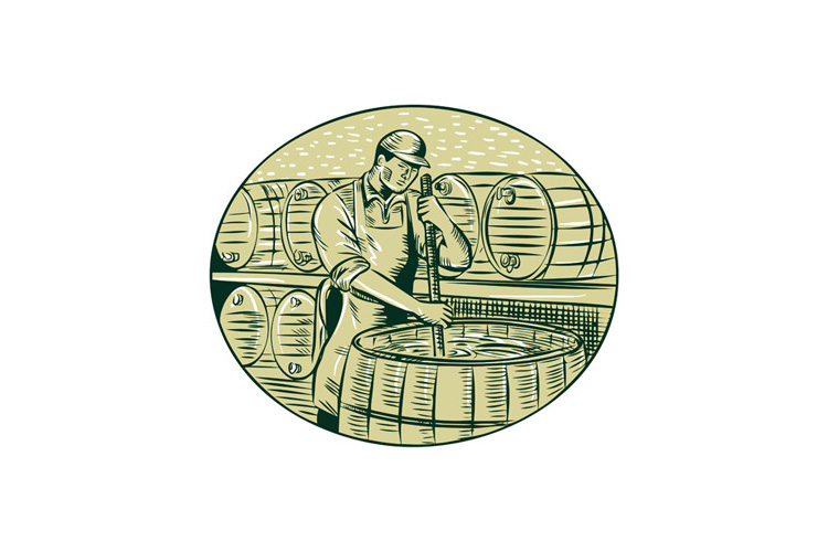 Brewer Brewing Beer Etching example image 1