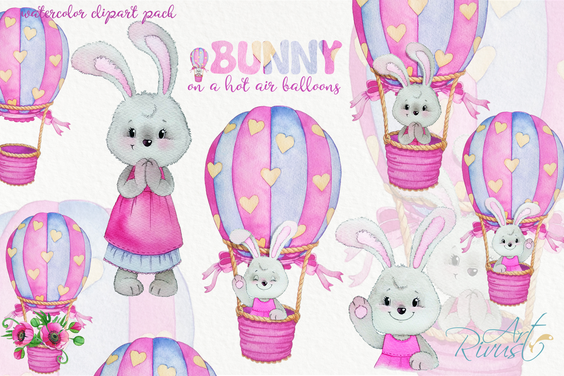 Clipart set watercolor bears with seagull hot air balloons example image 1