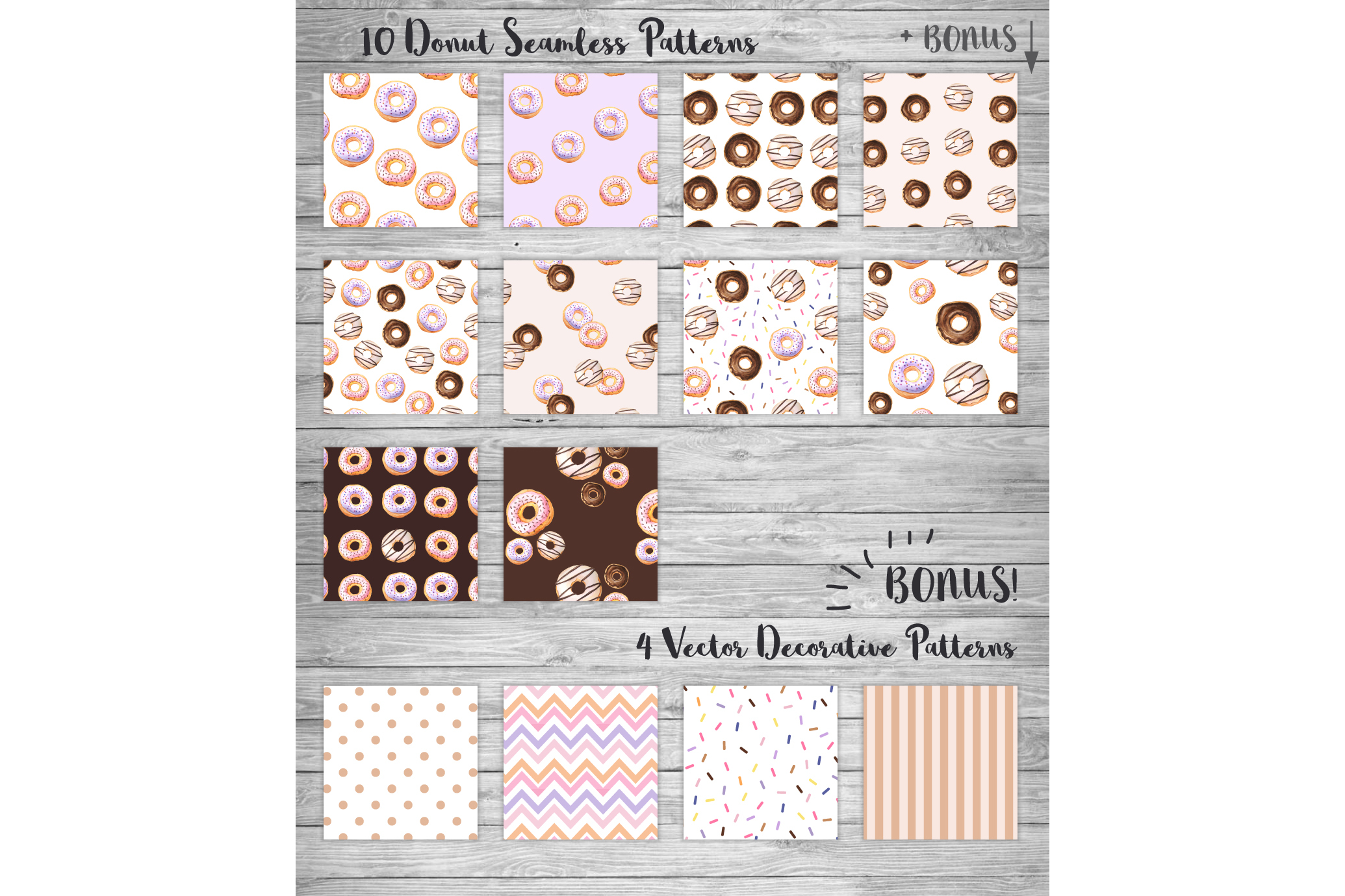 Donut Watercolor Patterns and Graphics example image 2