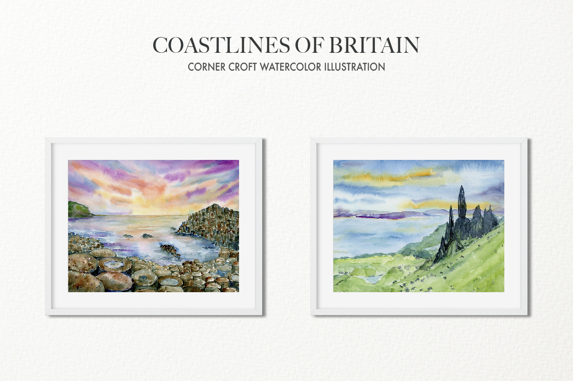 Watercolor Coast of Britain For Instant Download example image 9