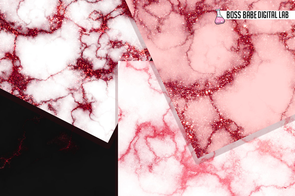 Red Glam marble digital paper example image 2