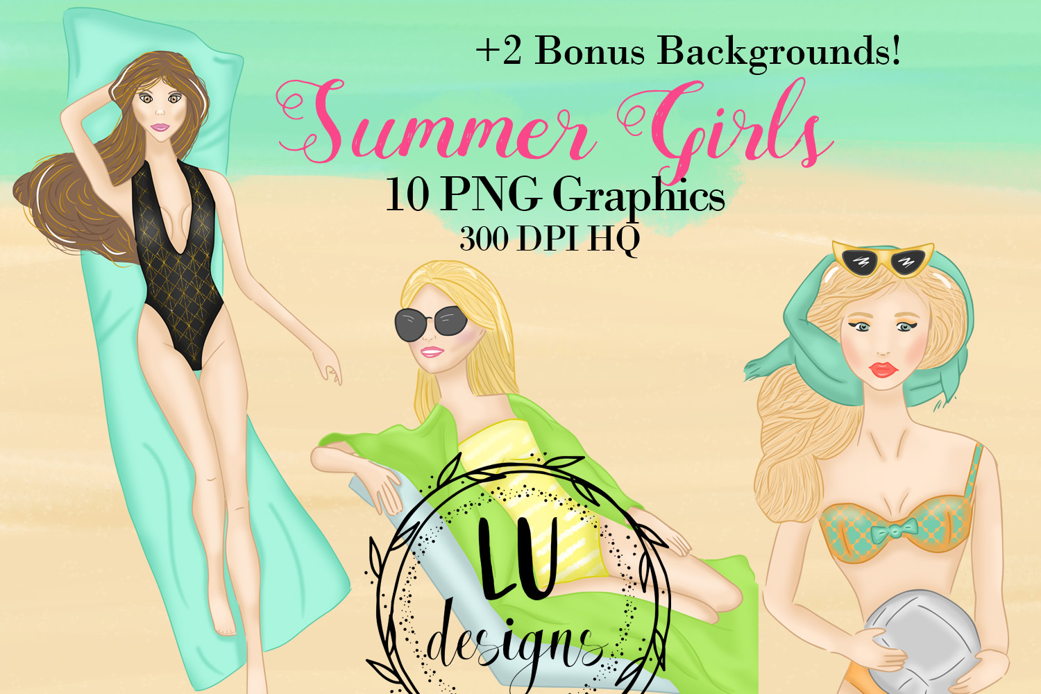 Summer Girls Clipart, Beach Clipart, Girl Illustrations example image 1