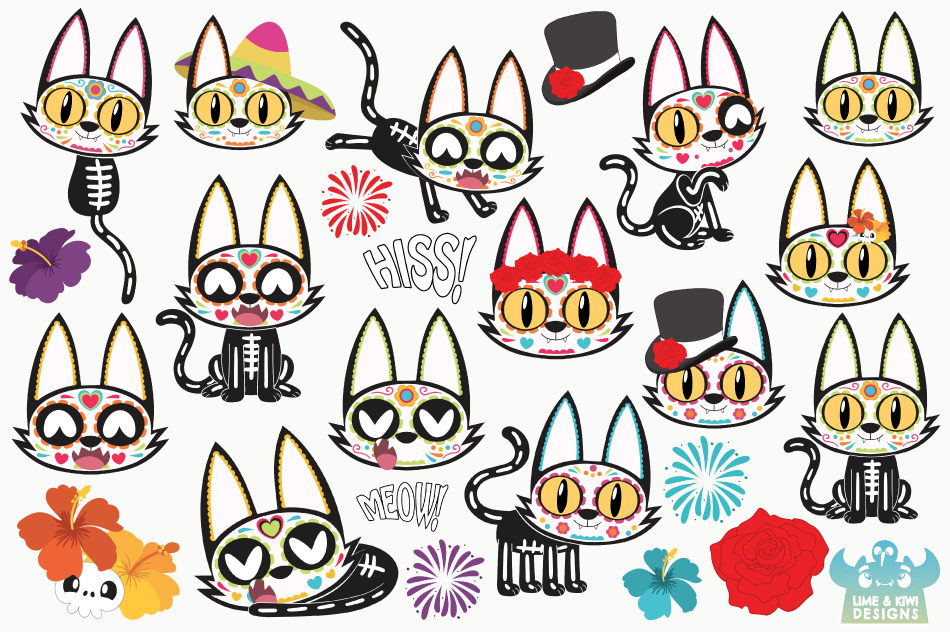 Sugar Skulls Day of the Dead Cats Clipart, Instant Download example image 2