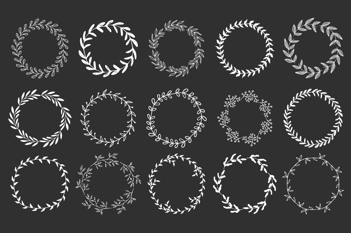 Hand drawn Wreaths and branches  example image 2